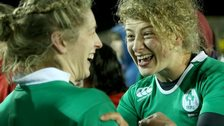 Ireland pair Alison Millar and Jenny Murphy celebrate the victory over England