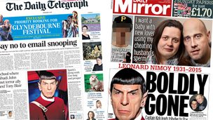 Composite image showing Telegraph and Mirror front pages