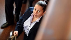 Former director of the Colombian security department Maria del Pilar Hurtado arrives at court in Bogota - 27 February 2015