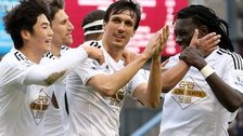Swansea players celebrate