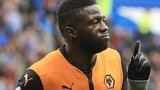 Bakary Sako celebrates putting Wolves 1-0 up against Cardiff City