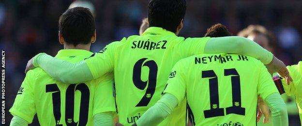 Lionel Messi, Luis Suarez and Neymar