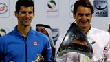 Roger Federer (R) of Switzerland and Novak Djokovic of Serbia