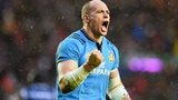 Sergio Parisse celebrates a 22-19 win for Italy at Murrayfield