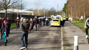 Ravers leave the River Ray industrial estate in Rodbourne