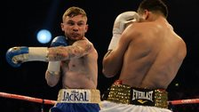 Carl Frampton in action against Chris Avalos during their IBF Super Bantamweight World Title fight