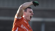 Armagh's Mark Shields celebrated scoring another goal