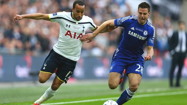 Tottenham's Andros Townsend battles with Chelsea's Cesar Azpilicueta in the 2015 League Cup final