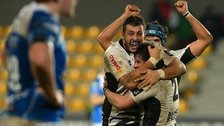 Zebre players celebrate beating Newport Gwent Dragons