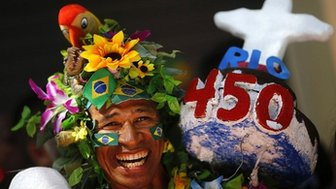 A reveller attends celebrations to mark the 450th anniversary of the city of Rio de Janeiro - 1 March 2015