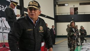 Minister Daniel Urresti talks with the press during the presentation of seized drugs at a police base in Lima, Peru.  file photo Sept 21 2014