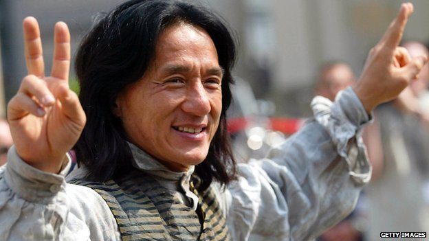 Actor Jackie Chan gestures as he stands on the set of his new movie 'Around the World in 80 Days' on 6 May, 2003 in Berlin, Germany