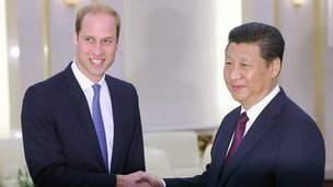 Prince William meets China's President Xi Jinping at the Great Hall of the People in Beijing on 2 March 2015