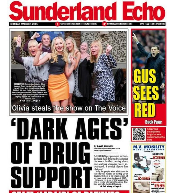 Sunderland Echo front page