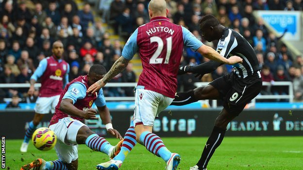 Papiss Cisse scores against Aston Villa