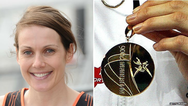 Kelly Sotherton and Commonwealth gold medal which was stolen