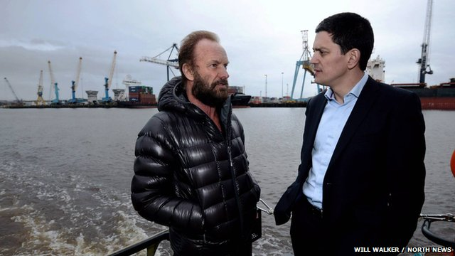 Sting with David Miliband