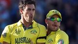 Australia's Mitchell Starc and Aaron Finch celebrate a wicket against New Zealand