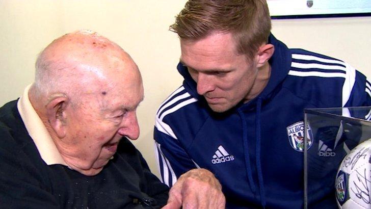 Jack Jones with West Brom player Darren Fletcher