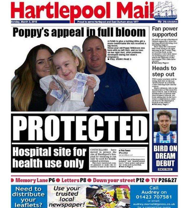 Hartlepool Mail front page