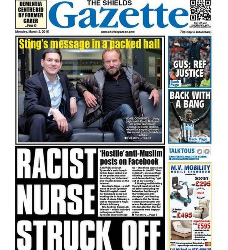 Shields Gazette front page