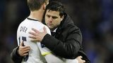 Tottenham defender Eric Dier is consoled by boss Mauricio Pochettino