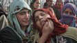 Grieving relatives of Shabir Ahmed Gania, a suspected local militant of Hizbul Mujahideen outfit, during his funeral procession in Kashmir Feb 26, 2015.