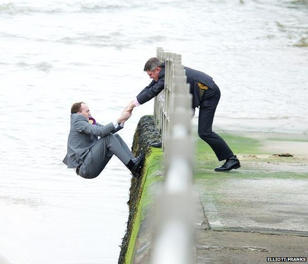 Sam Gould, UKIP candidate, being rescued from a beach in Margate