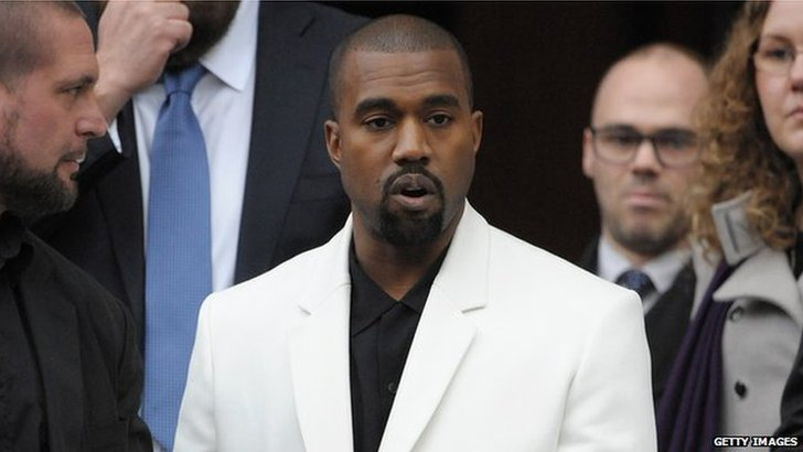 Kanye at Louise Wilson's memorial service