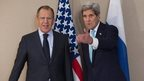US Secretary of State John Kerry, right, meets with Russian Foreign Minister Sergey Lavrov on 2 March 2015 in Geneva