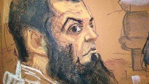 Abid Naseer, 28, listens to opening statements in his trial as seen in a courtroom sketch in Brooklyn, New York