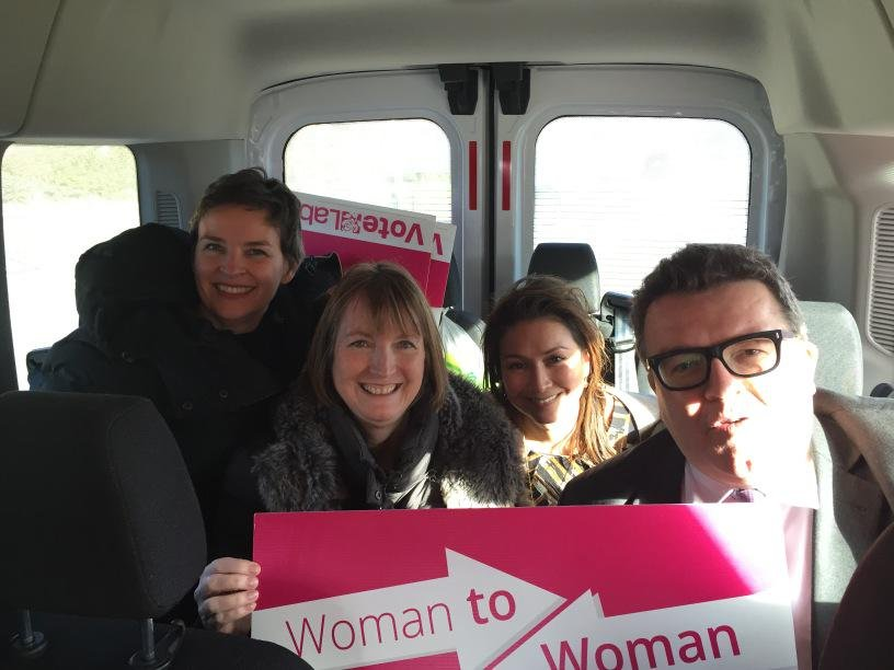Harriet Harman and Tom Watson on Labour's pink bus