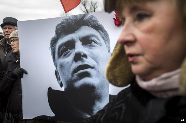 A poster of Boris Nemtsov at a rally in St Petersburg, Russia, 1 March