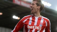 Peter Crouch celebrates scoring for Stoke