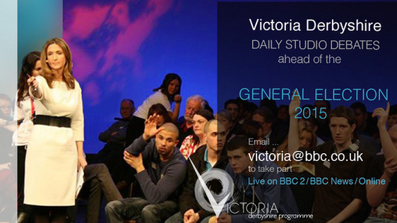 advert for Victoria Derbyshire studio debates