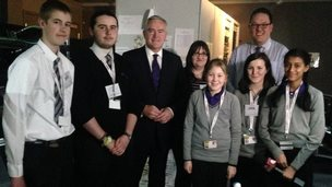 Huw Edwards with the School Reporters
