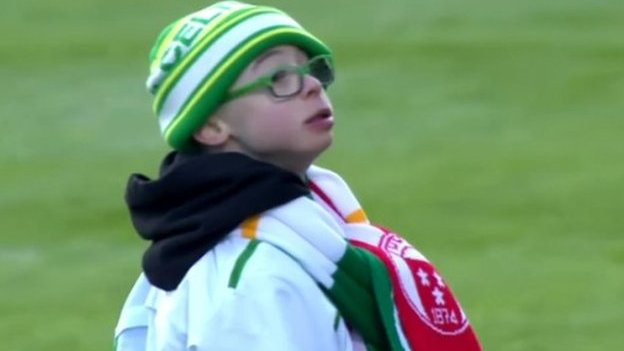 Celtic fan Jay Beatty wins the Scottish Professional Football League Goal of the Month Award for January with a half-time penalty at Hamilton