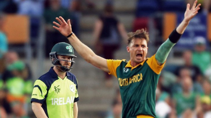 "South Africa""s Dale Steyn reacts after dismissing Ireland""s Paul Stirling"