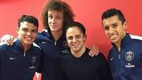 Felipe Massa (second right) and PSG trio Thiago Silva (left), David Luiz (second left) and Marquinhos
