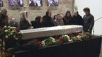 People pay their respects at the coffin of Boris Nemtsov