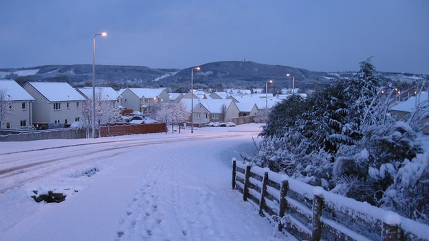 Snow has been falling over large parts of the Highlands including Inverness