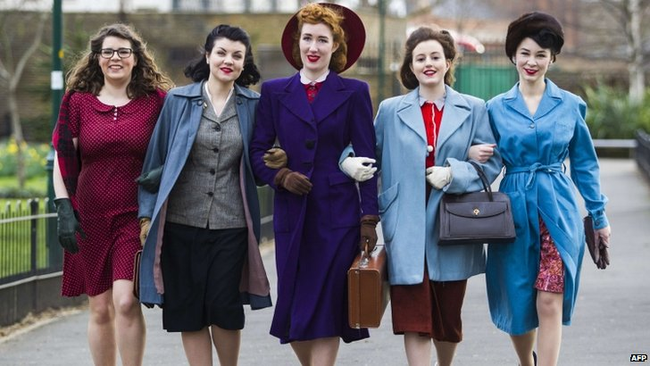 Models pose in 1940s outfits