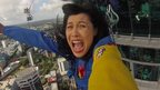Carmen Roberts at SkyJump, a ride at Auckland's Sky Tower