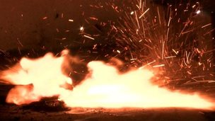 A lithium battery on fire
