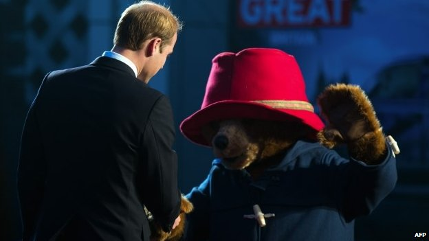 Prince William meets Paddington Bear at the China premier of the film Paddington in Shanghai on 3 March 2015