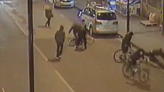 CCTV of Alan Cartwright being stabbed