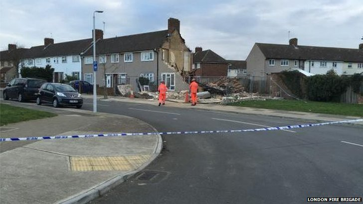 Site of home collapse in Romford