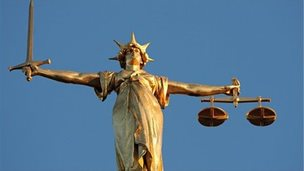 Lady Justice, at the top of the dome of the Central Criminal Court,