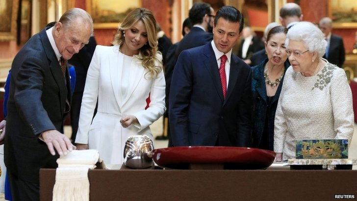 Mexican president Enrique Pena Nieto, his wife Angelica Rivera and the Queen and Prince Philip