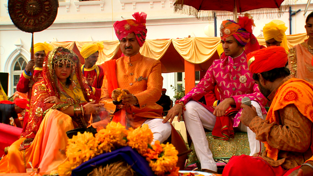 Groom and his parents - Prince Mandhata Sinh Jadeja (centre) leads the rituals before his son Jaideep's (right) wedding
